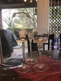 two clear glass candle holders North Vancouver, V7N