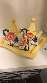 white-yellow-and-red floral ceramic tea set Montréal, H3X 1N3
