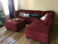 Red Ashley Sectional & Ottoman Tracy, 95376