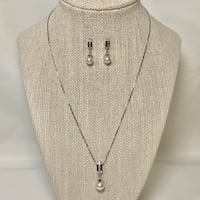Sterling Silver Pearl Pendant & Earring Set with Sterling Chain Ashburn, 20147