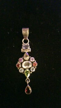 Sterling silver charm  with gems stone