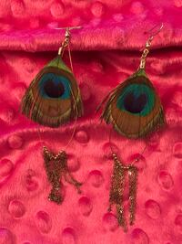 Peacock feather and chain earrings Colorado Springs, 80910