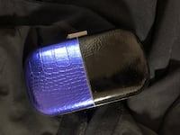 Bcbg blue and black leather clutch