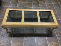 Beautiful solid wood coffee table with glass top Burnaby