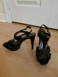 pair of black leather open-toe ankle strap heels Toronto, M5X 1B8