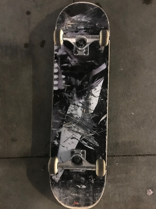 Black and white skateboard