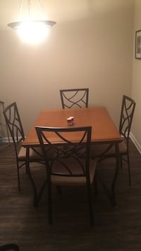 Rectangular brown wooden table with four chairs dining set Herndon, 20170