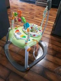 baby's green and white activity saucer Langley