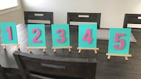 Destination Wedding table numbers Beaumont, T4X