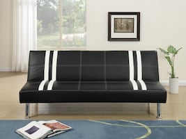 WHITE STRIPED FAUX LEATHER SOFA ADJUSTABLE NEW