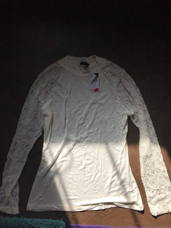 Used White Laced Long Sleeved Crew Neck Shirt Rue 21 For Sale In