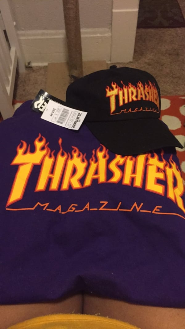 2 FOR $20 Thrasher shirt and hat 17a48962-ba72-4d7a-aac5-3111dbfa9e2c