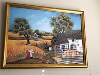 brown wooden framed painting of house 22 mi