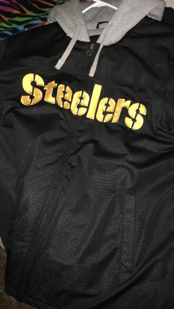 new style c535a c4eeb Black and grey pittsburgh steelers printed pull-over hoodie
