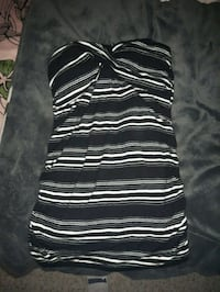 black and white stripe scoop-neck sleeveless dress Victoria, V9C