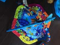blue, red, and green play mat