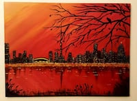 24x18 inches Toronto skyline painting
