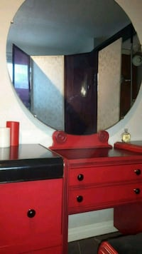 Vintage vanity set with mirror and bench