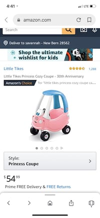 Little Tikes Princess Cozy Coupe Brentwood, 37027