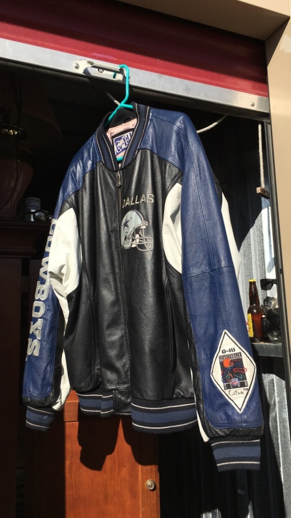 huge selection of f6a1b f0709 blue, black, and white leather Dallas Cowboys letterman jacket