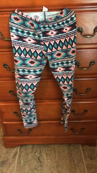 teal, white, and black tribal print pants Clint, 79836