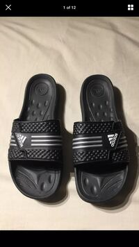 Adidas Authentic Logo Striped Black Velcro Flip-Flops/Sandals SIZE US 12 London, N6G 2Y8