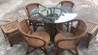 7 piece wicker set glass table top in good shape imported from the Philippines Metairie, 70005