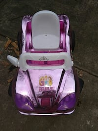 pink and purple Disney Princesses ride-on car toy