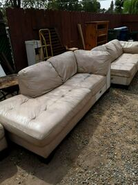 White Leather 3-seat sofa Bakersfield, 93308