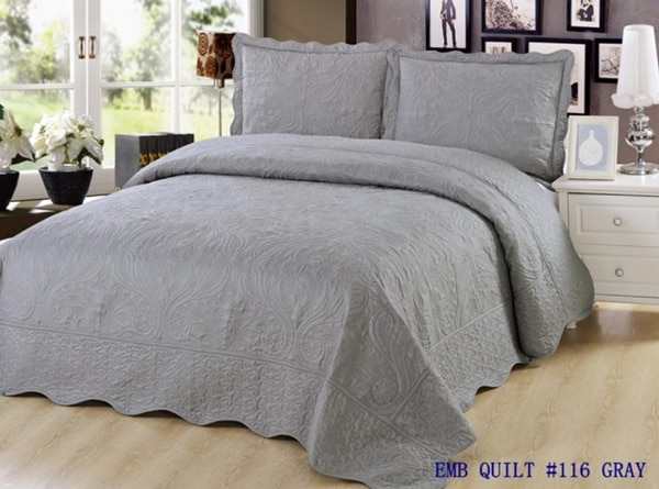 New Quilt Queen Size 3 pc Bedding Bed set / Bedspread / Embroidered / 2 pillow sham fd585cb0-cc13-4ae4-9fe0-0e7d174c15eb