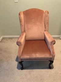Dusty rose colored padded armchair Raleigh, 27614