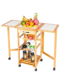 Portable Rolling Drop Leaf Kitchen Storage Trolley Cart