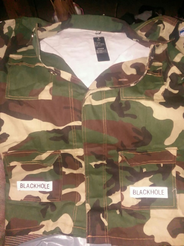 54a658c98646b Used Black hole/off white camo jacket for sale in Hedgesville - letgo