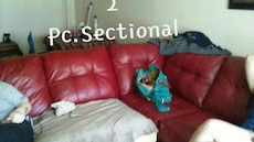 2 Pc Sectional... Red leather. L shaped