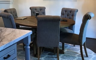 Dining set : round table with 6 chairs