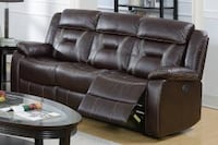 Only $50 Down!  New Reclining Couch. Brown Gel Leatherette. Delivery and Assembly included ! Anaheim