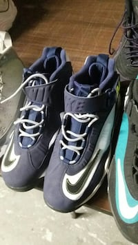 black-and-white Nike high-top basketball shoes