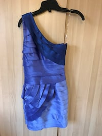 Xs or xxs cocktail formal dress in blue. One shoulder dress. Toronto, M9W
