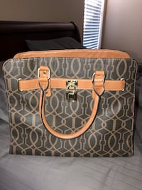 brown and gray monogrammed Michael Kors leather tote bag 1405 mi