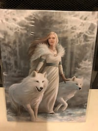 ANNE STOKES WINTER GUARDIAN WOLF WALL CANVAS Halifax