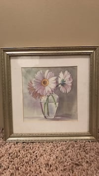 Pink daisy flowers in clear vase framed picture