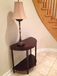 Brown wooden side table and white shade table lamp Vaughan, L0J 1C0