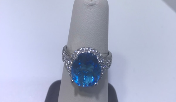 Blue topaz and diamond ring size 7