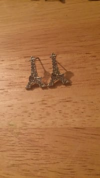 pair of silver tower earrings