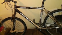 black and gray Trek hardtail mountain bike