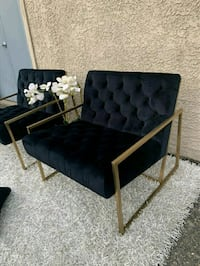 Gorgeous Stunning Black Tufted Modern Accent Chairs DELIVERY ASAP
