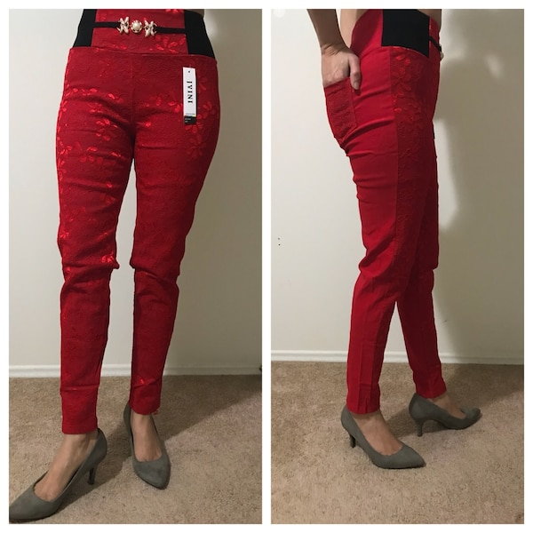 women's red jeans