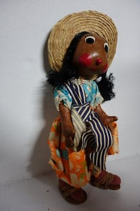 Vintage Handmade Mexican Doll with Paper Mache Face & Hands Frederick