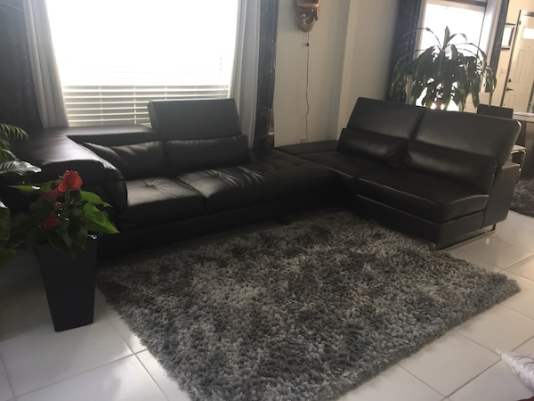 Used Black Leather Sofa Set With Throw Pillows For Sale In Kennesaw