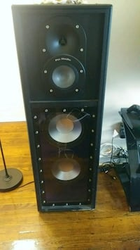 black and brown subwoofer speaker 307 mi